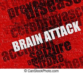 атака мозга, красный, brickwall, лекарственное средство, concept:
