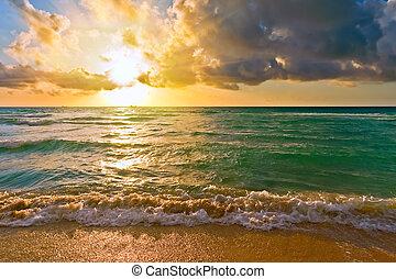 атлантика, океан, флорида, usa, восход