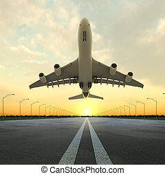 аэропорт, самолет, закат солнца, снимать