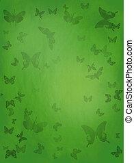 бабочка, зеленый, задний план