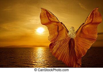 бабочка, концепция, летающий, wings, фантазия, женщина, море, релаксация, медитация, закат солнца