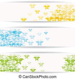 бабочка, красочный, абстрактные, дизайн