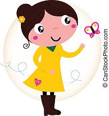 бабочка, милый, весна, желтый, ретро, девушка, платье