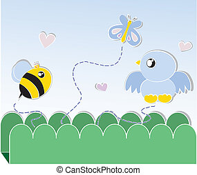 бабочка, птица, пчела