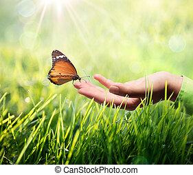бабочка, рука, трава