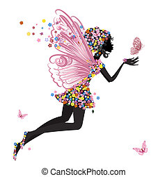 бабочка, фея, цветок