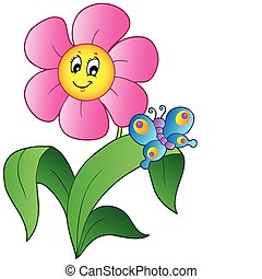 бабочка, цветок, мультфильм