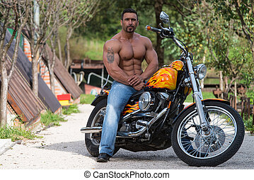 байкер, велосипед, sits, человек
