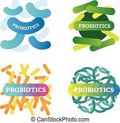 бактерии, вектор, коллекция, анатомический, маркированный, здоровье, иллюстрация, closeup., probiotics, set., художественный, биология, значок, basics., wellbeing, хорошо