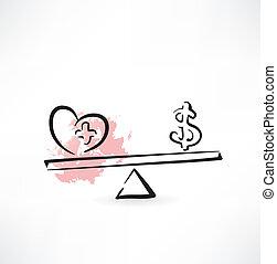 баланс, здоровье, денежные средства, значок