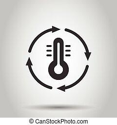 баланс, значок, style., background., холодно, климат, температура, термометр, белый, горячий, иллюстрация, контроль, бизнес, квартира, вектор, isolated, concept., метеорология