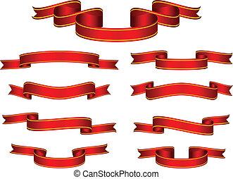 баннер, вектор, задавать, красный, лента