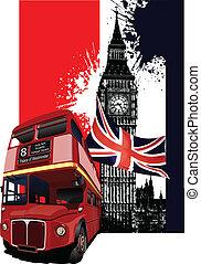 баннер, лондон, гранж, автобус