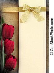 баннер, пустой, задний план, красный, tulips, марочный