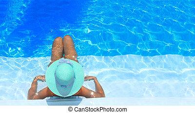 бассейн, женщина, плавание, enjoying