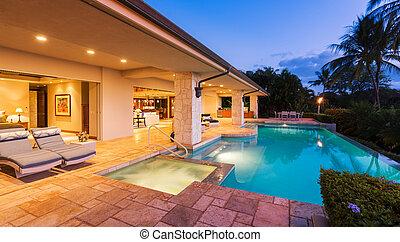 бассейн, роскошь, закат солнца, главная