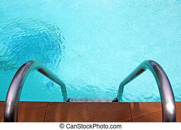 бассейн, ступенька, плавание