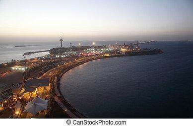 бахрейн, король, залив, над, дамба, фахд, королевство, саудовская, между, аравия