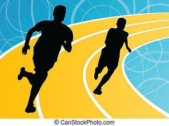 бегун, люди, бег, иллюстрация, silhouettes, вектор, задний план, активный, легкая атлетика, спорт