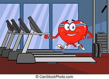 бегущая дорожка, здоровый, персонаж, бег, мультфильм, сердце