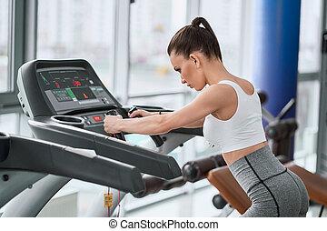 бегущая дорожка, поместиться, бег, гимнастический зал, женщина