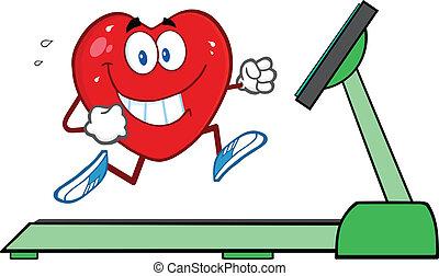 бег, бегущая дорожка, сердце