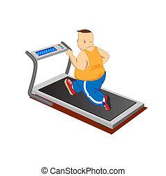 бег, люди, избыточный вес, бегущая дорожка