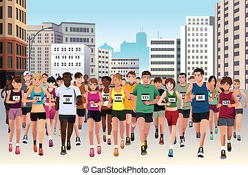бег, марафон, люди