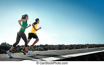бег, на открытом воздухе, спорт, люди