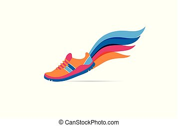 бег, плакат, символ, значок, логотип, марафон