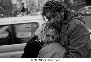 бездомный, пара, b/w, embracing