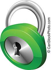 безопасность, глянцевый, иллюстрация, вектор, замок, зеленый, блестящий