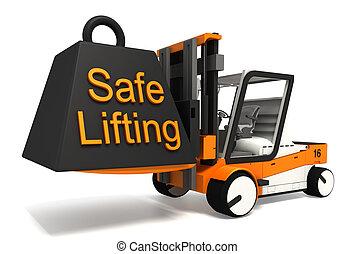 безопасно, черный, lifting, вес, знак