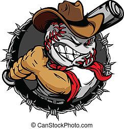 бейсбол, ковбой, holdin, мультфильм, лицо