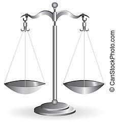 белый, баланс, масштаб, isolated