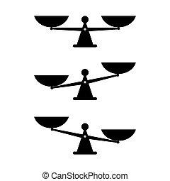 белый, вектор, масштаб, баланс, задний план, isolated, значок