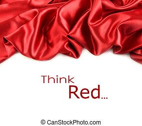 белый, сатин, ткань, против, красный