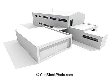 белый, современное, задний план, дом, 3d