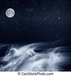 белый, clouds, черный, луна