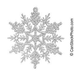 белый, isolated, серебряный, снежинка