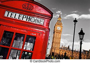 бен, большой, телефон, англия, стенд, uk, лондон, красный