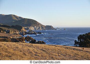 берег, cliffs, закат солнца, тихий океан, шоссе