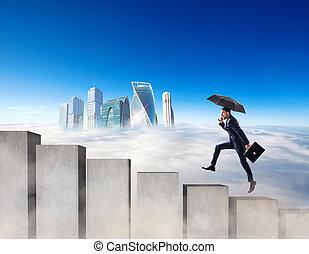 бетон, бег, бизнесмен, лестница, blocks.