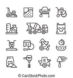 бетон, линия, задавать, icons