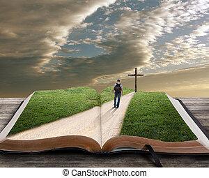 библия, открытый, пересекать, человек