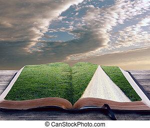 библия, открытый, путь