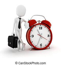 бизнесмен, аварийная сигнализация, 3d, человек, часы