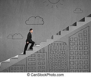 бизнесмен, гулять пешком, здание, современное, doodles, лестница