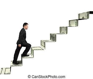 бизнесмен, гулять пешком, лестница, деньги