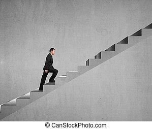 бизнесмен, гулять пешком, лестница